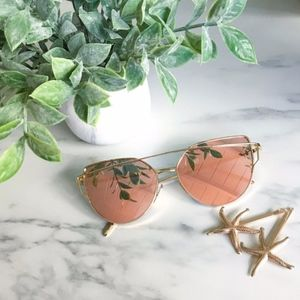 Cat Eye Pink Mirrored Sunglasses
